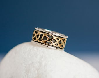 Sterling Silver and Brass Celtic Knot Spinner Ring