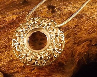 Sterling Silver Round Filigree Pendant Necklace * Personalized with 40 Characters * Choice of 10mm Semi Precious Gemstone * Flower Design