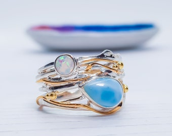 US 9.5 | UK S | EU60 Personalized Sterling Silver Blue Larimar and White Opal Gemstone Ring for Women - October Birthstone