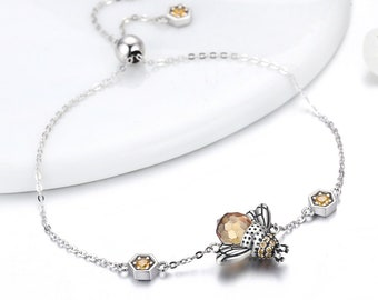 Personalized Sterling Silver and Crystal Bee Bracelet for Women  * Bee Insect Bracelet Design