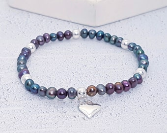 Sterling Silver and Freshwater Black Pearl Bracelet for Women * Adjustable Stretch Stacking Bead Bracelet