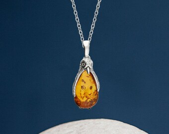 Personalised Sterling Silver Amber Gemstone Penguin Pendant Necklace