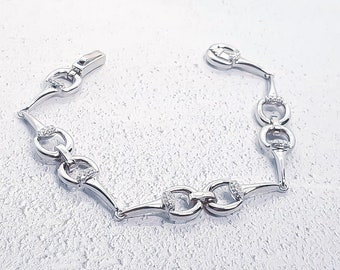 Sterling Silver Horse Bit Bracelet for Girls or Women * Personalized with 40 Characters * Snaffle Bit Equestrian Jewelry * Cubic Zirconia