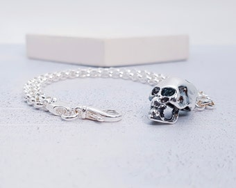 Sterling Silver Human Skull Jewelry for Men or Women * Memento Mori Bracelet Design