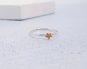 UK R / US 8.5 Copper Star Stacking Ring * Sterling Silver * Slim Ring * Band Ring * Minimalist * Dainty * Hammered