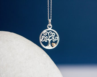 Sterling Silver Tree Pendant Necklace with 18ct Rose Gold Heart