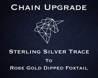 Chain Upgrade to 0.8mm Foxtail Chain * 14 16 18 20 24 28 inches * Rose Gold Dipped Sterling Silver