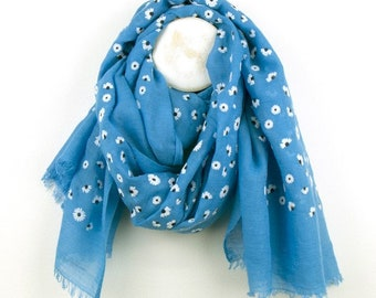 Personalised Blue Scarf with Dainty Daisy Print - 70cm x 180cm
