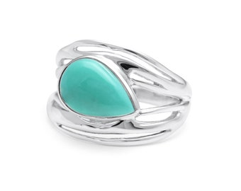 Personalized Sterling Silver Ring with Original American Turquoise Gemstone
