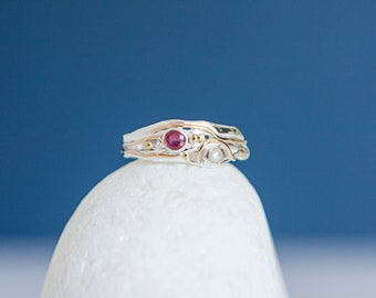 Sterling Silver Ring with Ruby and White Freshwater Pearl Gemstones on a Silver Band with Gold Fill Details