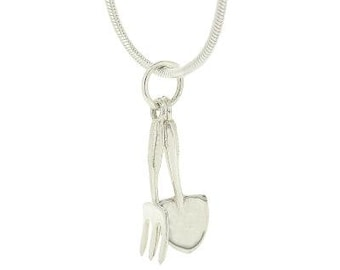 Fay * Gardeners Necklace * Sterling Silver * Dainty * Minimalist * Boho * Best Friend * Gift for Her * Fork Trowel * Gift Mom * Outodoors