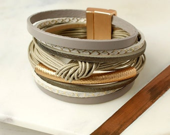 Personalised Taupe Leather Layered Knot Bracelet with Golden Detail