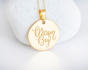Personalised 9ct Yellow Gold Coin Disc Pendant Necklace - Dream Big