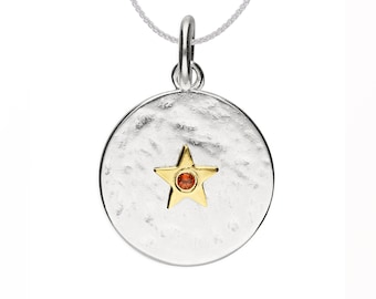 Personalized Sterling Silver and 18ct Gold Star January Birthstone Pendant Necklace with Cubic Zirconia Garnet Gemstone