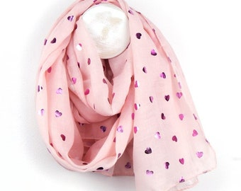 Personalised Pale Pink Scarf with Metallic Pink Multi Heart Print - 70cm x 180cm
