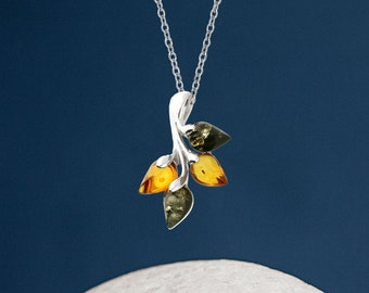 Personalised Sterling Silver Mixed Amber Gemstone Leaf Pendant Necklace