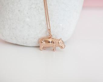 18ct Rose Gold Dipped Hippopotamus Pendant Necklace