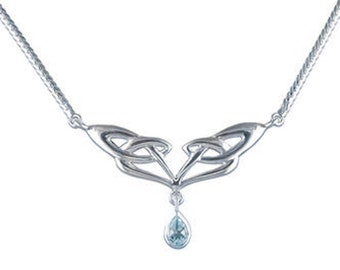 Sterling Silver Celtic Knot Necklace for Women * Personalized With Up To 40 Characters * Heritage Blue Topaz Gemstone Pendant Design