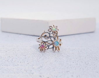 Personalized Sterling Silver Opal Flower Ring for Women * Gemstone Nature Ring Design