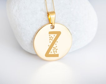 Personalised 9ct Yellow Gold Initial 'Z' Alphabet Pendant Necklace