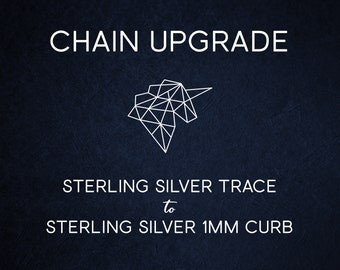Chain Upgrade 1mm Curb Chain * 16 18 20 24 inches * Solid Sterling Silver * Best for Men, Women, Girls, Boys