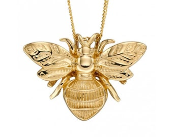 Personalised 9ct Yellow Gold Honey Bee Pendant Necklace