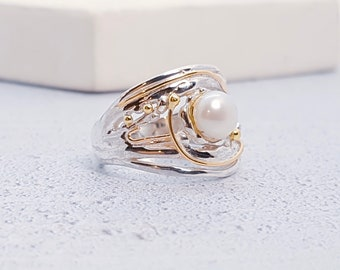 Personalized Sterling Silver White Freshwater Pearl Ring for Women * Organic Gemstone Ring