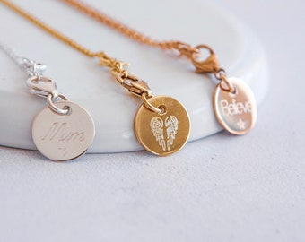 18mm Sterling Silver or 18ct Gold Disc Necklace * Personalized with 70 Characters