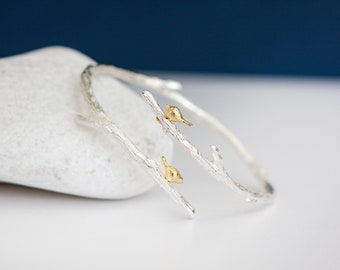 Sterling Silver Birds on a Twig Branch Bangle