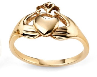 Solid Gold Claddagh Ring for Women * Personalized With Up To 40 Characters * Heritage Celtic Ring Design
