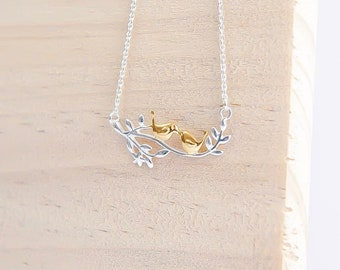 Sterling Silver and 14ct Gold Love Birds Necklace for Women * Two Birds on Branch Bird Pendant Design