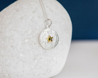 Sterling Silver and 18ct Gold Star September Sapphire Birthstone Pendant Necklace