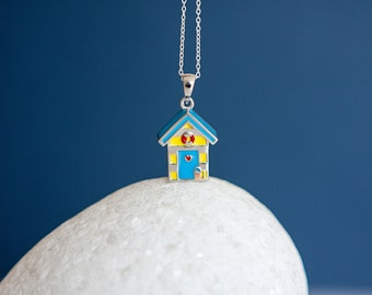 Sterling Silver British Beach Holiday Hut Pendant Necklace