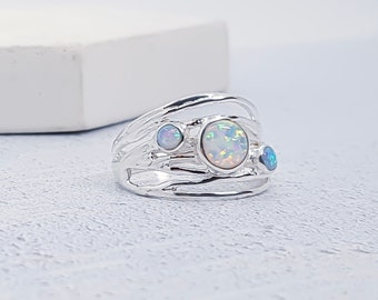Personalized Sterling Silver Blue and White Opal Gemstone Ring for Women - October Birthstone