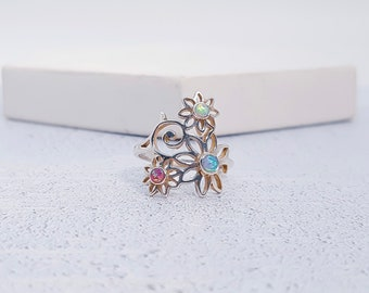 UK N / US 6.5 Trio of Opal Flowers Ring * Sterling Silver * Rustic Organic Jewelry * Unique Womens Engagement Ring * Promise Ring