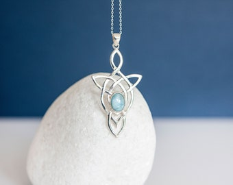 Sterling Silver Celtic Motherhood Knot Pendant Necklace with Larimar