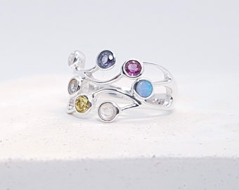 Sterling Silver Blue and White Opal, Amethyst, Peridot, Rainbow Moonstone, Iolite and Sky Blue Topaz Ring for Women * Organic Gemstone