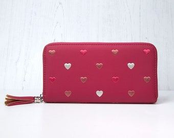 Personalised Pink Faux Leather Purse with Embroidered Hearts and Tassel