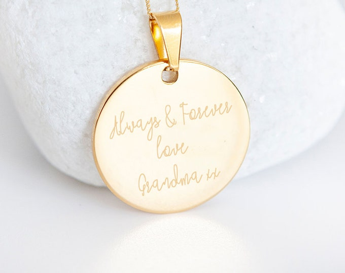 Featured listing image: Personalised Own Handwriting 9ct Yellow Gold Coin Disc Pendant Necklace