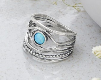 Personalized Sterling Silver Blue Opal Ring for Women * Organic Gemstone Ring