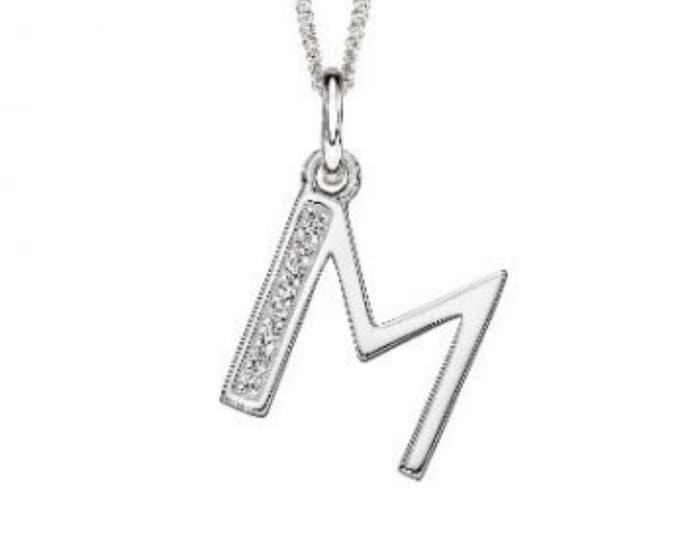 Featured listing image: 18mm Initial Pendant Necklace * Sterling Silver * Art Deco * Personalised * M
