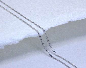 0.7mm Diamond Cut Curb Chain * 16 18 20 inches * 9ct White Gold