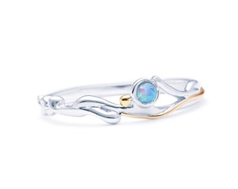 Personalized Sterling Silver Blue Opal Gemstone Ring for Women - October Birthstone