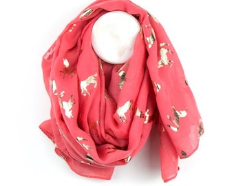 Personalised Coral Scarf with Metallic Rose Gold Unicorn Print - 70cm x 180cm