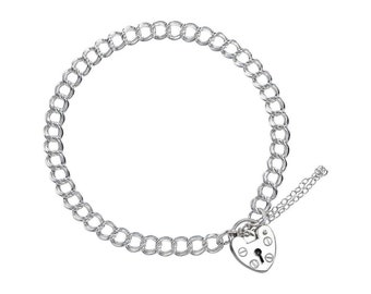 0.7mm Double Curb Bracelet Heart Lock Chain * 6 7 8 inches * Sterling Silver * Ideal for Clip Charms * Lightweight