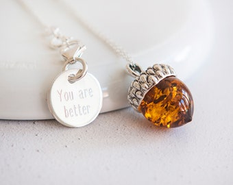 Personalised Amber Acorn Necklace * Sterling Silver * Amber Jewelry * Baltic Amber Pendant * Baltic Amber * Adult Amber Necklace * Gift