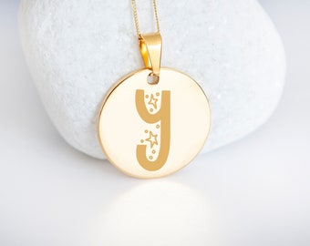Personalised 9ct Yellow Gold Initial 'Y' Alphabet Pendant Necklace