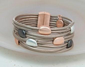 Taupe Leather Mixed Metallic Pebbles Bracelet