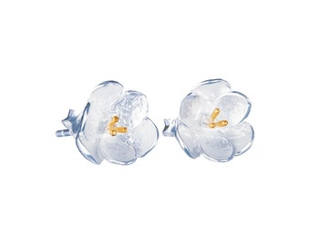 Sterling Silver and 14ct Gold Buttercup Flower Stud Earrings