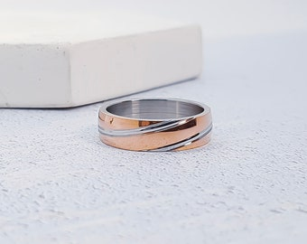 Rose Gold Two Tone Stainless Steel Ring for Men or Women